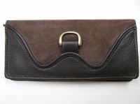 Scully Leather Accessory: Clutch Wallet Suede and Leather Brown