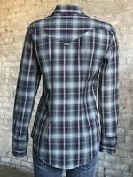 Rockmount Ranch Wear Ladies' Western Shirt: Plaid Retro Dobby Lurex Black