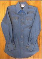 Rockmount Ranch Wear Ladies' Western Shirt: A Cotton Dobby Blue S-XL