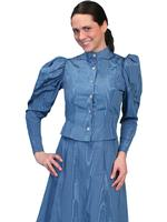 Scully Ladies' Old West Blouse: Wahmaker Victorian Puff Sleeves Blue Backordered