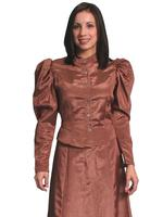 Scully Ladies' Old West Blouse: Wahmaker Victorian Puff Sleeves Chocolate