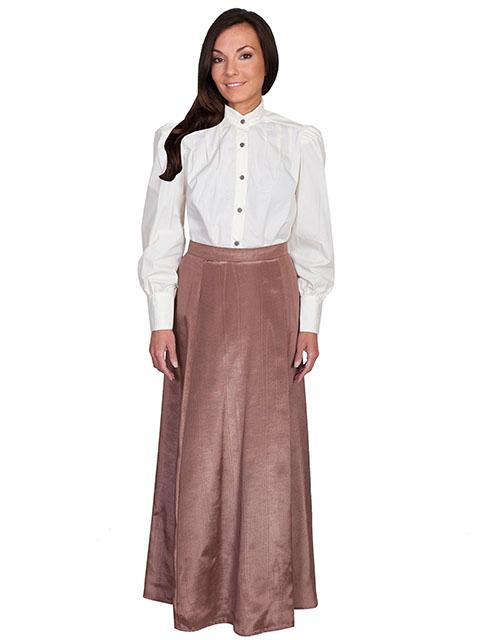 Scully Ladies' Old West Skirt: Wahmaker Victorian Walking Skirt Moire Chocolate