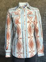 Rockmount Ranch Wear Ladies' Western Shirt: Print Flannel Jacquard Ivory Backordered