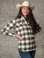 Rockmount Ranch Wear Ladies' Western Shirt: Print Flannel Green Backordered