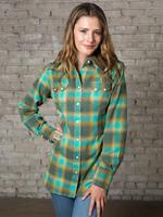 Rockmount Ranch Wear Ladies' Western Shirt: Print Flannel Turquoise Backordered