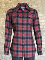 Rockmount Ranch Wear Ladies' Western Shirt: Print Flannel Red Grey Backordered