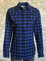 Rockmount Ranch Wear Ladies' Western Shirt: Print Buffalo Check Blue