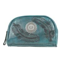 A American West Handbag Sacred Bird Collection: Leather Cosmetic Case Turquoise