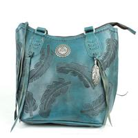 A American West Handbag Sacred Bird Collection: Leather Zip Top Bucket Tote Dark Turquoise