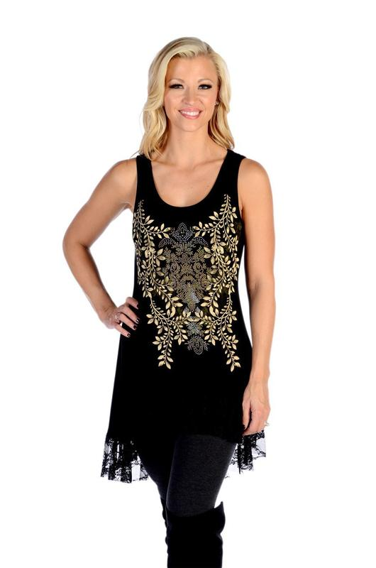 Liberty Wear Dress: Tank Tunic Lacy Laurel Black S-3XL