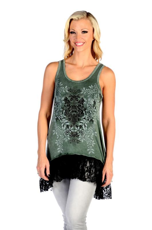 Liberty Wear Dress: Tank Tunic Lacy Laurel Olive S-3XL