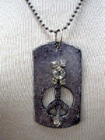 SALE Handcrafted: Necklace Dog Tag Let There Be Peace SALE