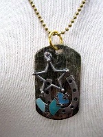 A SALE Handcrafted: Necklace Dog Tag Boot Star SALE