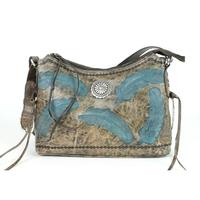 A American West Handbag Sacred Bird Collection: Leather Zip Top Shoulder Distressed Charcoal Brown