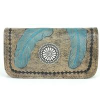 A American West Handbag Sacred Bird Collection: Leather Tri-Fold Wallet Charcoal Brown