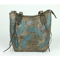 A American West Handbag Sacred Bird Collection: Leather Zip Top Bucket Tote Distressed Charcoal Brown