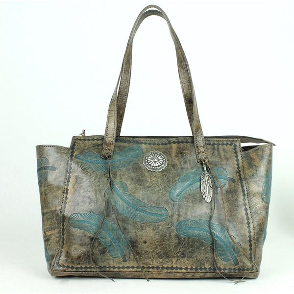 A American West Handbag Sacred Bird Collection: Leather Zip Top Tote Distressed Charcoal Turquoise