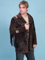 Scully Men's Leather Jacket: Fringe Suede Button Front Jacket Expresso Big 50-56