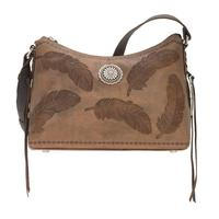 A American West Handbag Sacred Bird Collection: Leather Zip Top Shoulder Charcoal Brown