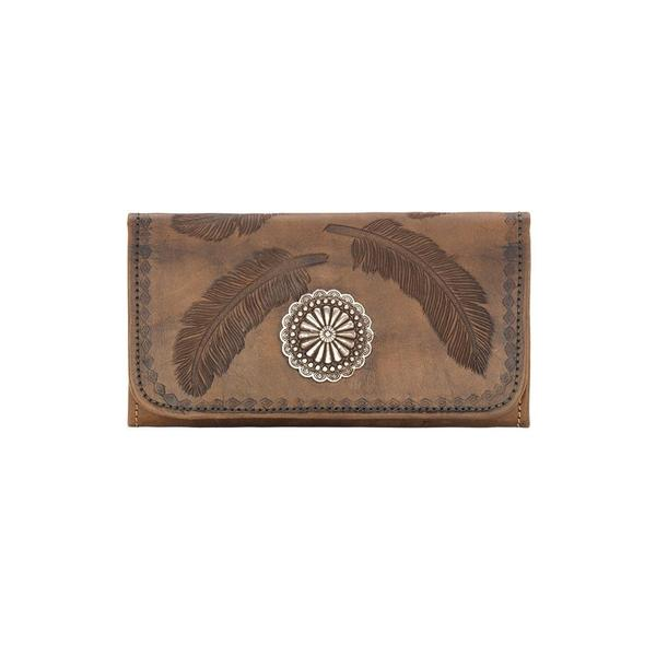 A American West Handbag Sacred Bird Collection: Leather Tri-Fold Wallet