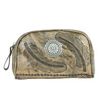 A American West Handbag Sacred Bird Collection: Leather Cosmetic Case  Charcoal Brown