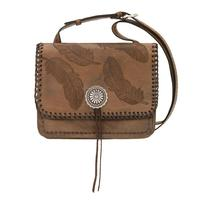 A American West Handbag Sacred Bird Collection: Leather Crossbody Flap Charcoal Brown