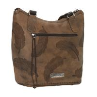 A American West Handbag Sacred Bird Collection: Leather Zip Top Bucket Tote Distressed Charcoal