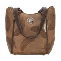 A American West Handbag Sacred Bird Collection: Leather Zip Top Bucket Tote Charcoal Brown