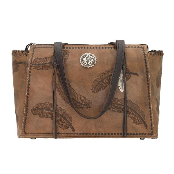 A American West Handbag Sacred Bird Collection: Leather Zip Top Tote Charcoal Brown