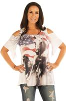 Liberty Wear T-Shirt: Cold Shoulder American Flag