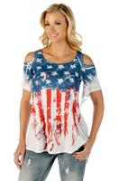 Liberty Wear T-Shirt: Old Glory Cold Shoulder