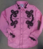 ZSold Rockmount Ranch Wear Ladies' Vintage Western Shirt: Paniolo Pink, Black SOLD