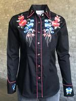 Rockmount Ranch Wear Ladies' Vintage Western Shirt: A Fancy Blooms Black Backordered