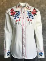 Rockmount Ranch Wear Ladies' Vintage Western Shirt: A Fancy Blooms Ivory