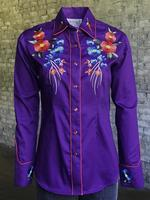 Rockmount Ranch Wear Ladies' Vintage Western Shirt: A Fancy Blooms Purple