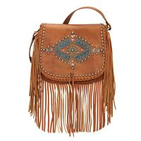 American West Handbag Pueblo Moon Collection: Leather Crossbody Flap w Decoration Fringe Golden Tan