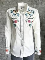 Rockmount Ranch Wear Ladies' Vintage Western Shirt: A Fancy Floral Embroidery Ivory Backordered
