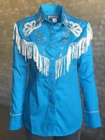 Rockmount Ranch Wear Ladies' Vintage Western Shirt: Fancy Fringe Turquoise Backordered