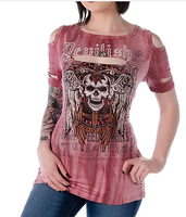 Liberty Wear T-Shirt: Cold Shoulder Devilish Skull