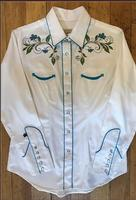 Rockmount Ranch Wear Ladies' Vintage Western Shirt: Fancy Floral White S-XL