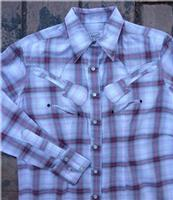 ZSold Rockmount Ranch Wear Ladies' Western Shirt: A Plaid Shadow w Guitars Pink S-XL SOLD