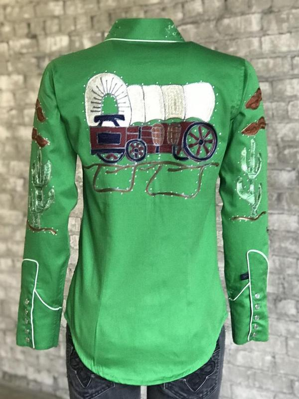 Rockmount Ranch Wear Ladies' Vintage Western Shirt: Fancy Palm Trees & Wagon Wheels Green