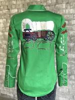 Rockmount Ranch Wear Ladies' Vintage Western Shirt: Fancy Palm Trees & Wagon Wheels Green Advance Order