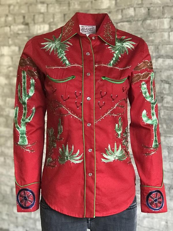 Rockmount Ranch Wear Ladies' Vintage Western Shirt: Fancy Palm Trees & Wagon Wheels Red