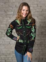 Rockmount Ranch Wear Ladies' Vintage Western Shirt: Fancy Palm Trees & Wagon Wheels Black Backordered
