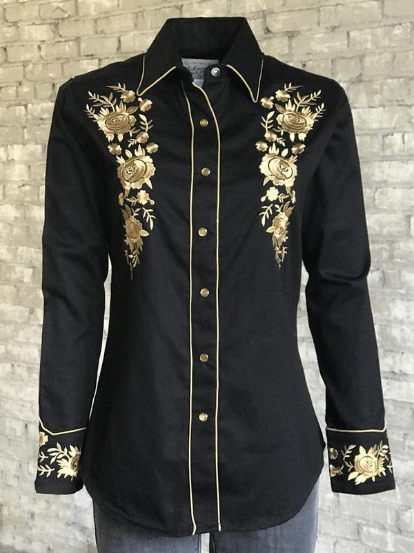 Rockmount Ranch Wear Ladies' Vintage Western Shirt:  A Fancy  Gold Floral  Bouquet Advance Ordered