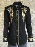 Rockmount Ranch Wear Ladies' Vintage Western Shirt:  A Fancy  Gold Floral  Bouquet Backordered