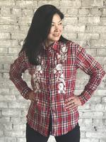 Rockmount Ranch Wear Ladies' Vintage Western Shirt: A Fancy Red Plaid Floral Embroidery Red S-XL