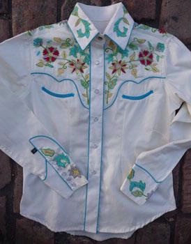 Rockmount Ranch Wear Ladies' Vintage Western Shirt: Fancy Flowers Embroidered Ivory XS SALE