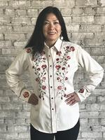 Rockmount Ranch Wear Ladies' Vintage Western Shirt: A Fancy Thistle Ivory